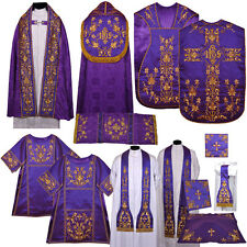 Purple Silk Fully Embroidered IHS High Mass Vestment Set