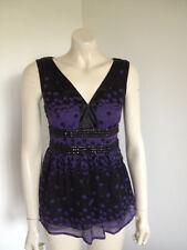 Portmans Purple Black 100% Silk Embellished Beaded Baby Doll Blouse Size 8