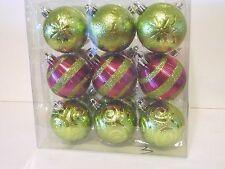 18 Pink Green Ball 2.25 In Shatter Resistant Ornament Christmas Decoration