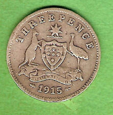 1915  AUSTRALIAN STERLING SILVER THREEPENCE  COIN
