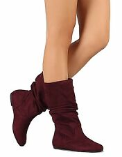 Womens Ankle Mid Calf Fux Suede Flat Heels Slouchy Warm Winter Fashion Boots