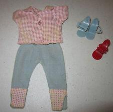 """Vint 1950's Miss Ginger10.5"""" blue w pnk & wht chk trim blouse & pants-blue shoes"""