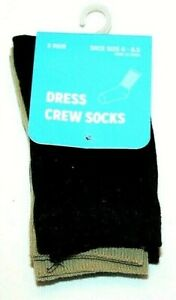 3 Pair Black/Brown Dress Crew Socks  Sock Size 6-8.5