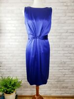 Tahari sleeveless cocktail dress womens Sz 12 cobalt blue silk w/ knot detail