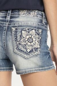 MISS ME Designer Brand denim Shorts Jeans Floral Crystals Embellished  MED499