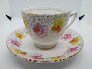 Sweet Pea Roslyn Vintage Fine Bone China Tea Cup & Saucer Orange Yellow Mauve
