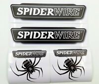 """2x 9"""" Spiderwire stickers +2x 4.5"""" Bumper Sticker for Fishing Boat Canoe Kayak"""