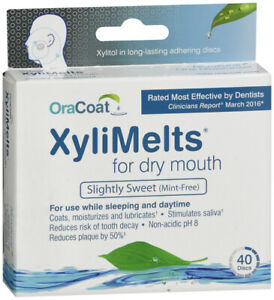 XyliMelts dry mouth discs, mint-free, 4 x 40 count, all-natural