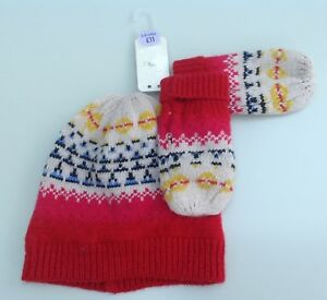 Next baby girls hat and mittens  set age 3-9  months