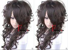 New Stylish Long Curly Dark Brown Cosplay Girl Hair Wig H72