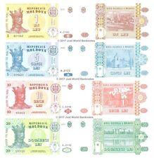 Moldova 1 + 5 + 10 + 20 Lei Lot de 4 billets 4 pcs UNC