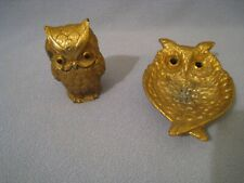 Vintage Owl Table Lighter With Owl Ashtray c TAN 1964 JAPAN ~ Painted metal