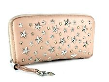 Authentic JIMMY CHOO Filipa STAR Studs Pink Leather Zip Around Wallet Italy Used