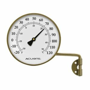 "AcuRite 4"" BRASS THERMOMETER with Swivel Bracket 00334A2"