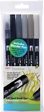 Tombow ABT Dual Brush & Fine Tip Pen Grey Colours 6 Pack