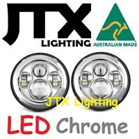 "JTX 7"" LED Headlights Plain Chrome without Halo fit Land Rover Series 1 2 2A 3"