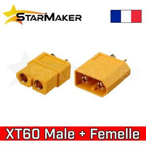 XT60 Mâle + Femelle par paire - Connecteur prise batterie drone LiPo