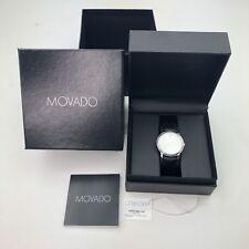 Movado Mens Watch Sapphire Crystal Black Leather Swiss Quartz with Box