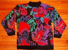 1980s Retro Sweater w/ Metallic Thread Floral Print & Puffy Sleeves L Made in US