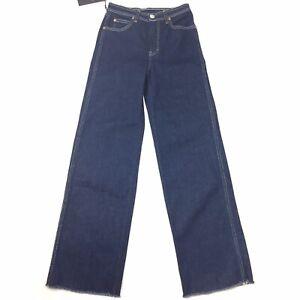 Rag & Bone Jeans Women's 24 Derby Rinse Wash High Rise Raw Hem Wide Leg $295
