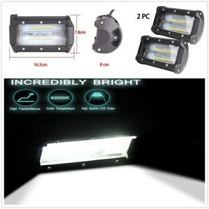 1 Pair 5inch 72w LED Work Driving Light Bar Spot Flood OFFROAD 4WD Reverse Lamp