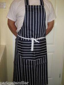 Professional Chefs Striped Apron 3 Colours Cooks Apron 100% Cotton FREE P&P