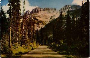 Garden Wall, Glacier National Park, Montana mountains forest road postcard