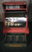 Vintage 1950's Child's Red Toy Tom Thumb Cash Register Tin Western Stamping MI