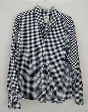 Lacoste Mens Navy / White Long Sleeve Button Down Checker Plaid Shirt Size 44 XL