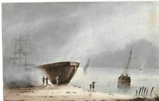 Original Gouache Drawing 19th century - Dessin Ancien - Landscape by the Sea