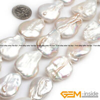 Natural Freshwater Cultured Keshi Pearl Flat Loose Beads For Jewelry Making 15""