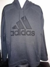 Mens XL  Adidas Charcoal Gray Black Striped Hoodie Pullover Large Pocket...