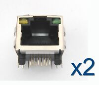 2x Connecteur à souder RJ45 femelle avec LED Ethernet Female connector to solder