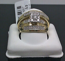 10K Yellow Gold Diamond His Hers Matching Engagement Ring Wedding Band