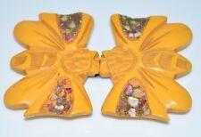 Vtg Bakelite Art Deco Carved Butterscotch Yellow Butterfly Sparkle Belt Buckle