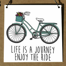 Life Is A Journey Enjoy The Ride Cute Funny Metal Plaque Sign Retro Shabby Chic