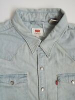 LEVI'S DENIM SHIRT MEN'S REGULAR FIT POPPERS MEDIUM STONEWASH BLUE LSHT649