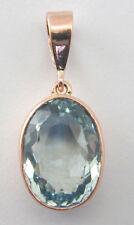 Aquamarine solitaire oval pendant 9 carat rose gold