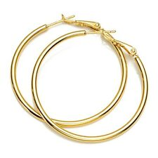 18k Yellow Gold Filled Women Earrings 40mm Ring Hoops Charms Jewelry Gift