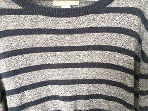 Grayson & Dunn Men's Large Sweater Cotton Light & Dark Gray Stripes