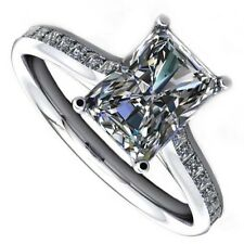18kt H SI 2.50ct Radiant Cut Channel Set Diamond Engagement Ring Certified
