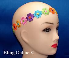 NEW DAISY CHAIN MULTI COLOUR ELASTICATED HEADBAND FLOWER HAIRBAND HEAD HAIR BAND