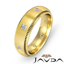 Sparkling Princess Diamond Wedding Mens Band 18k Yellow Gold Eternity Ring 0.4Ct
