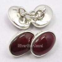 ".925 Solid Silver RED CARNELIAN MODERNISTIC Cufflinks 0.6"" BIRTHDAY PRESENT"