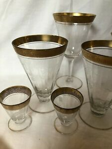Vintage Etched Crystal Stemware With Gold Leaf Rim - 12 Assorted Pieces