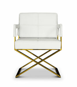 Luxury Armrest chair with white leather and Gold legs. Comfortable & durable.