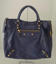 BALENCIAGA Dark Blue Giant 12 Velo Leather Bag w/ Shoulder Strap GHW