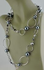FASHION NECKLACE SILVER PLATED FACETED GLASS FAUX BLACK PEARL LIA SOPHIA 46""