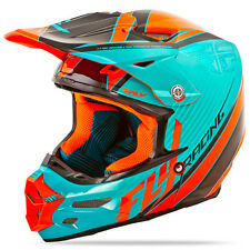 FLY RACING F2 Carbon Fastback MX/Motocross Helmet (Teal/Orange/Black) M (Medium)