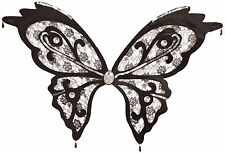 Ladies Black Lace Sequin Butterfly Wings Fancy Dress Costume Outfit Accessory